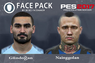 PES 2017 Facepack Gundogan & Nainggolan by Bebo Facemaker