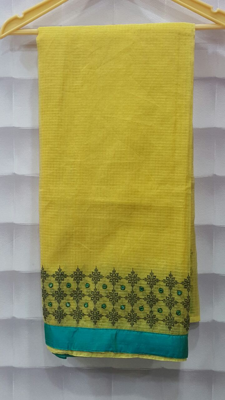 Soft Tissue Saree With Kutch Work Border With Border Color Blouse