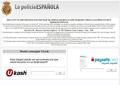 falso virus de La policía Española