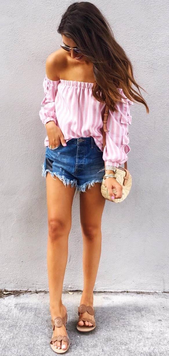 cute summer outfit: off shoulder top + denim shorts