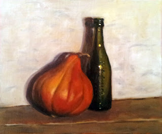 Oil painting of a pumpkin beside an antique green bottle.