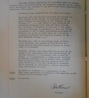 Laing's resolution as it appears in the Faculty Meeting Minutes, 1945