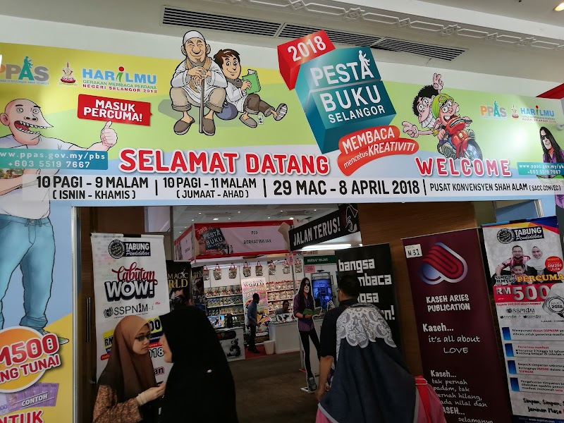 Pesta Buku Selangor, 29 Mac - 8 April 2018, Shah Alam Convention Centre, 10 am - 9 pm (Isnin - Khamis), 10 am - 11 pm (Jumaat - Ahad)
