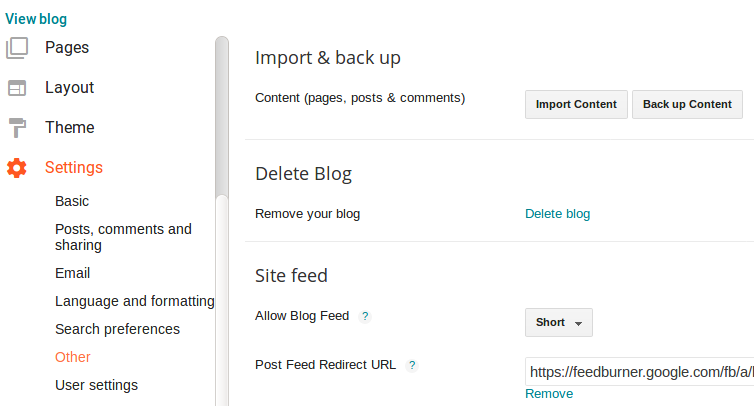 Backup Blog Content  from Blogger and Import to New Blog