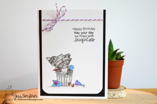Raccoon Birthday Card by Jess Gerstner for Newton's Nook Designs Raccoon Rascals