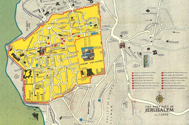 Mapa da cidade dourada de Jerusalém
