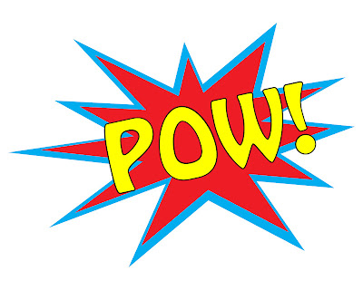 photo of free printable for a superhero party theme that says POW with a yellow and red pop background