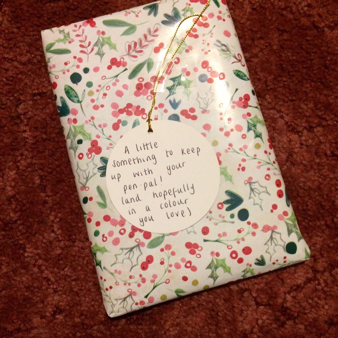 Wrapped present with a tag reading, A little something to keep up with your pen pal! (And hopefully in a colour you love)