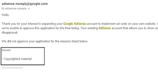 Adsense Approval Copyrighted Material