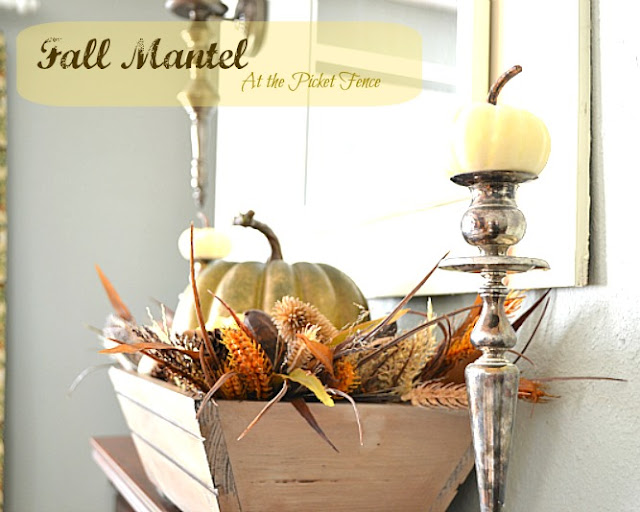 fall, mantel, mantel decorations, simple fall mantel