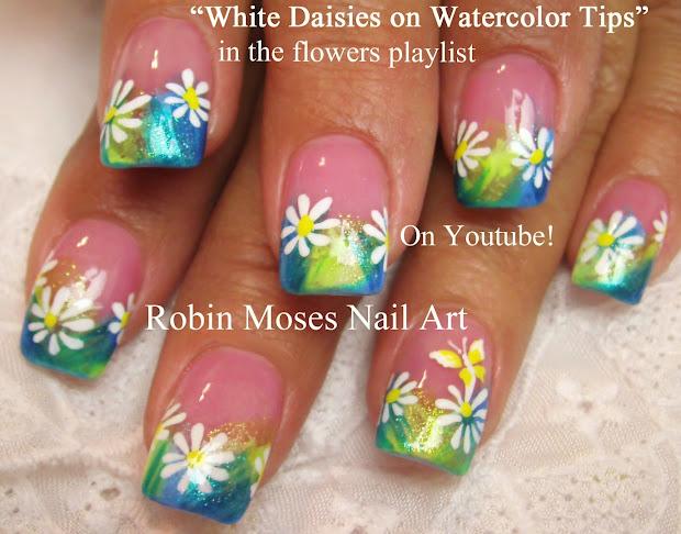 """Robin Moses Nail Art Black And White Daisies Diagonal Chevron Tip """"black Nails"""