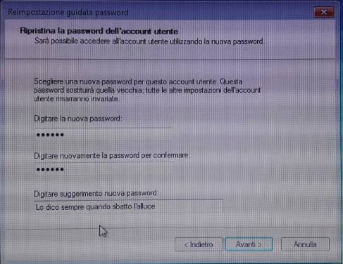 Windows procedura ripristino password account utente