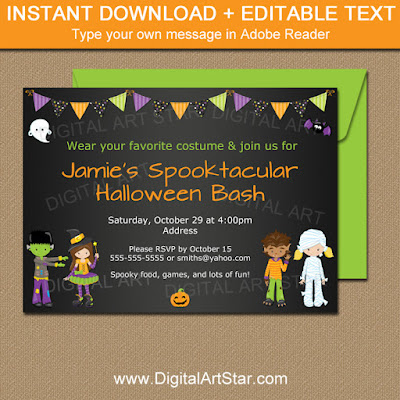 kids halloween costume party invitation template with editable text