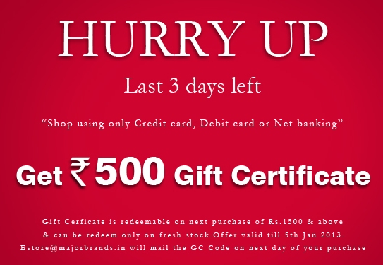 Hurry up! Only 3 days left to get Rs  500 gift certificate