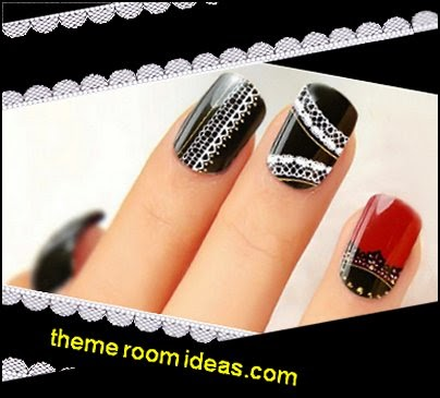 Black Red White Lace Themed Gold Stud Topped Nail Art Effects Strips Decal Wrap Stickers