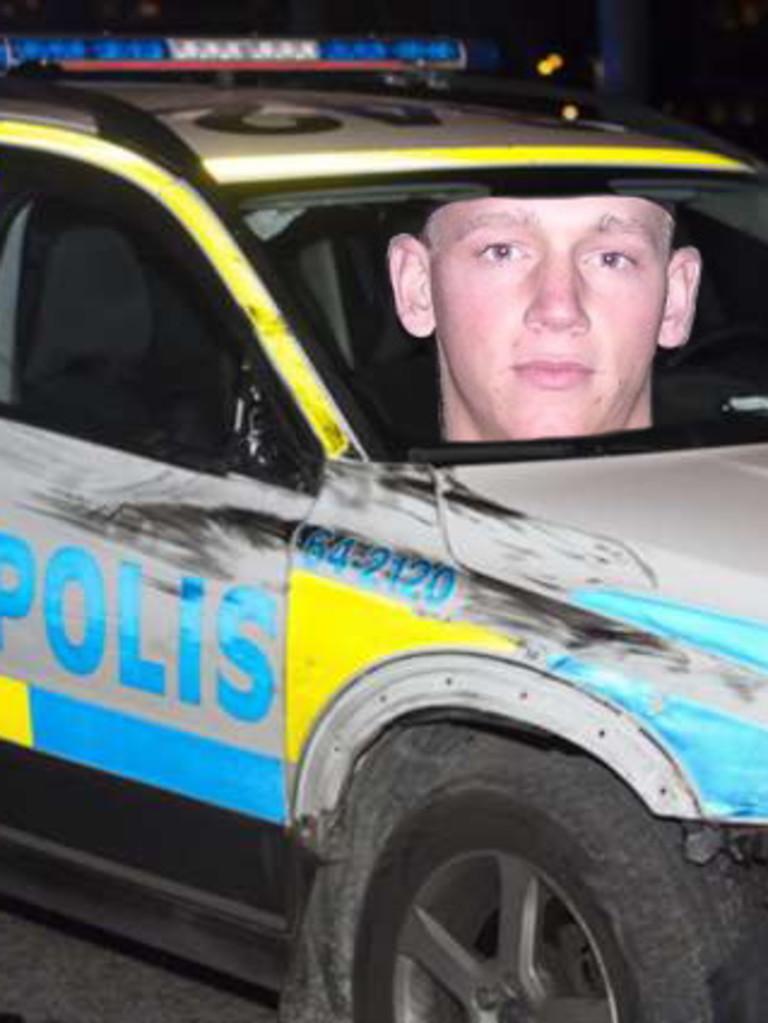 Vardas efter kollision med polisbil