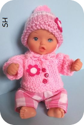 Bobble Hat & Cardigan for a Mini Baby Doll - Free Knitting Pattern
