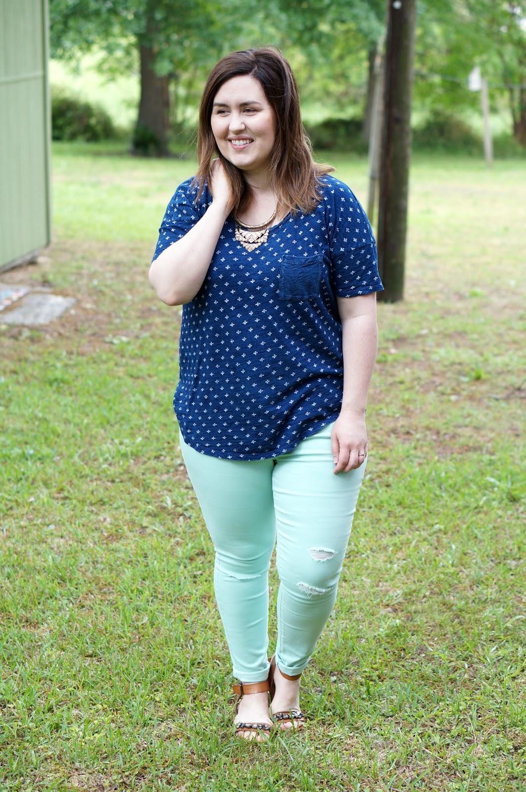 Rebecca Lately Old Navy Mint Rockstar Jeans