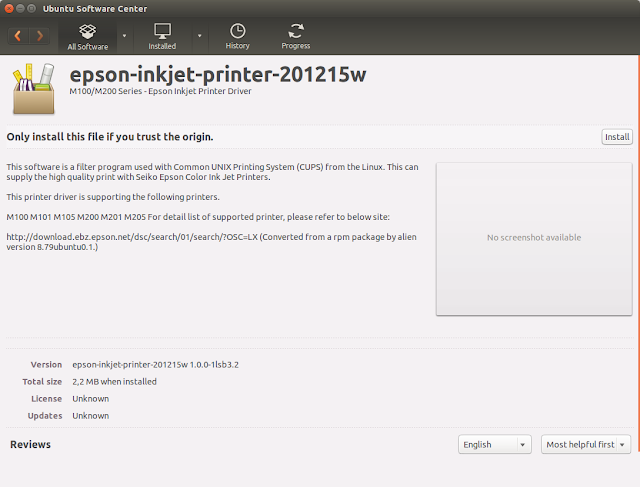 UBuntu Software Center - Install Driver Epson M200