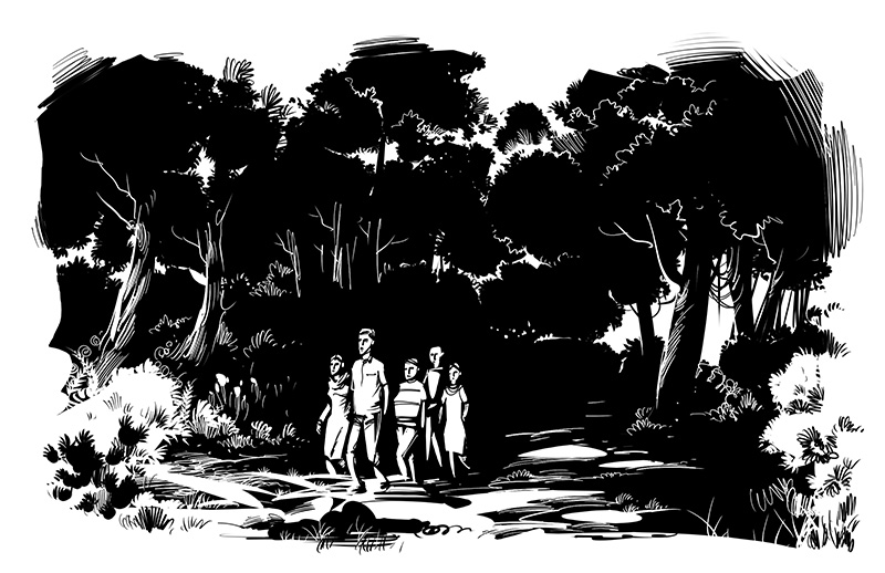 horror men women walking through jungle illustration