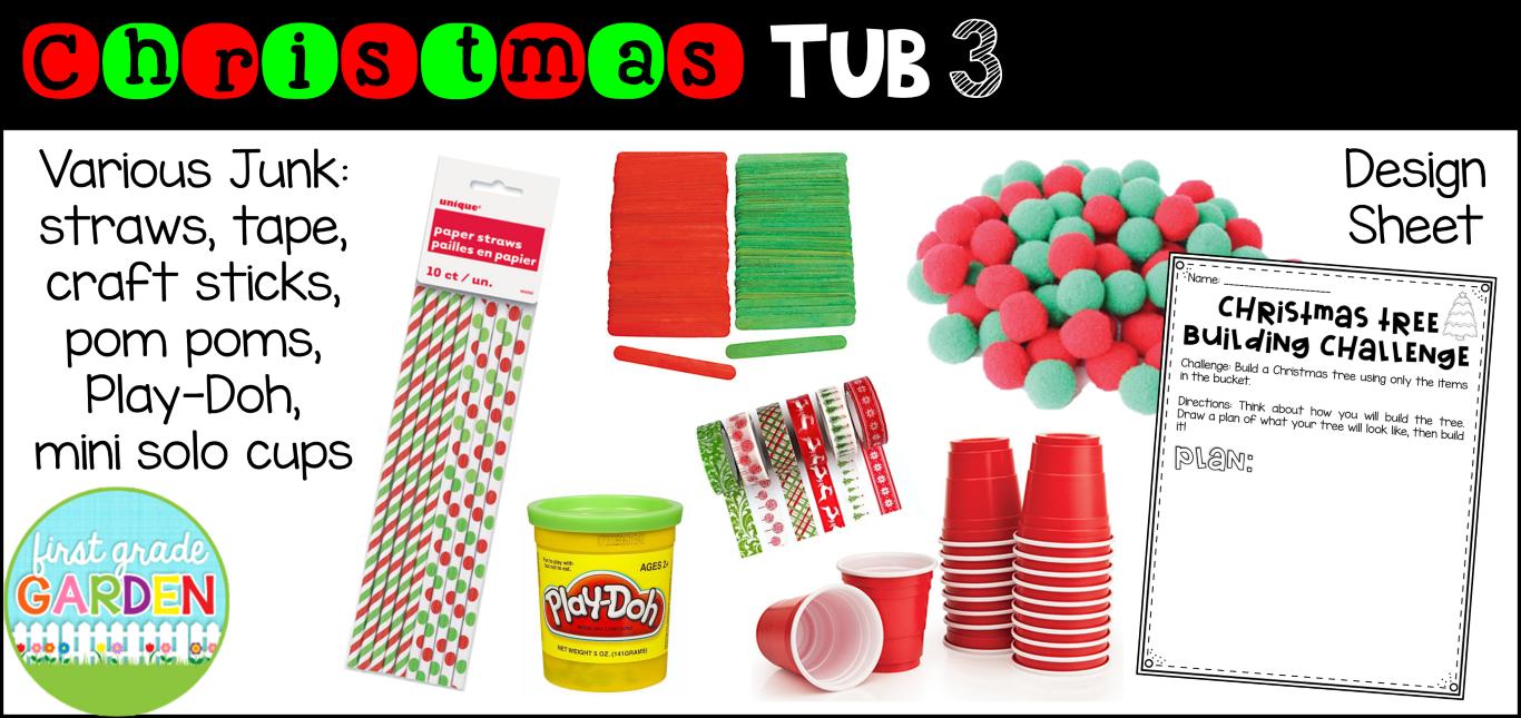 Christmas Stem Challenges.First Grade Garden Social Studies Explore Tubs Christmas