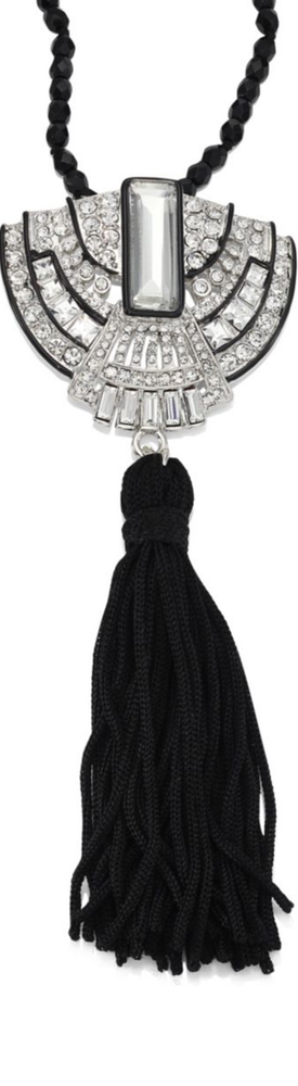 Kenneth Jay Lane Beaded Crystal Pendant Tassel Necklace