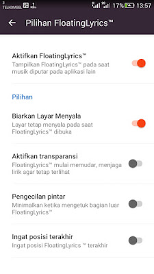 pengaturan floating lirik
