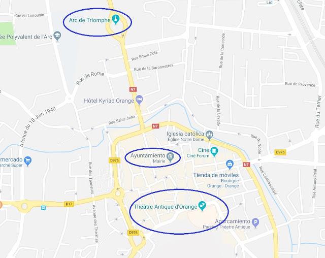 Mapa de situación qué ver en Orange: