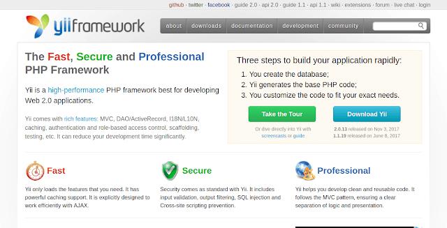 framework php terbaik yii