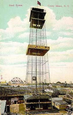 La Iron Tower, una atalaya que se elevaba a 300 pies de altura sobre Coney Island