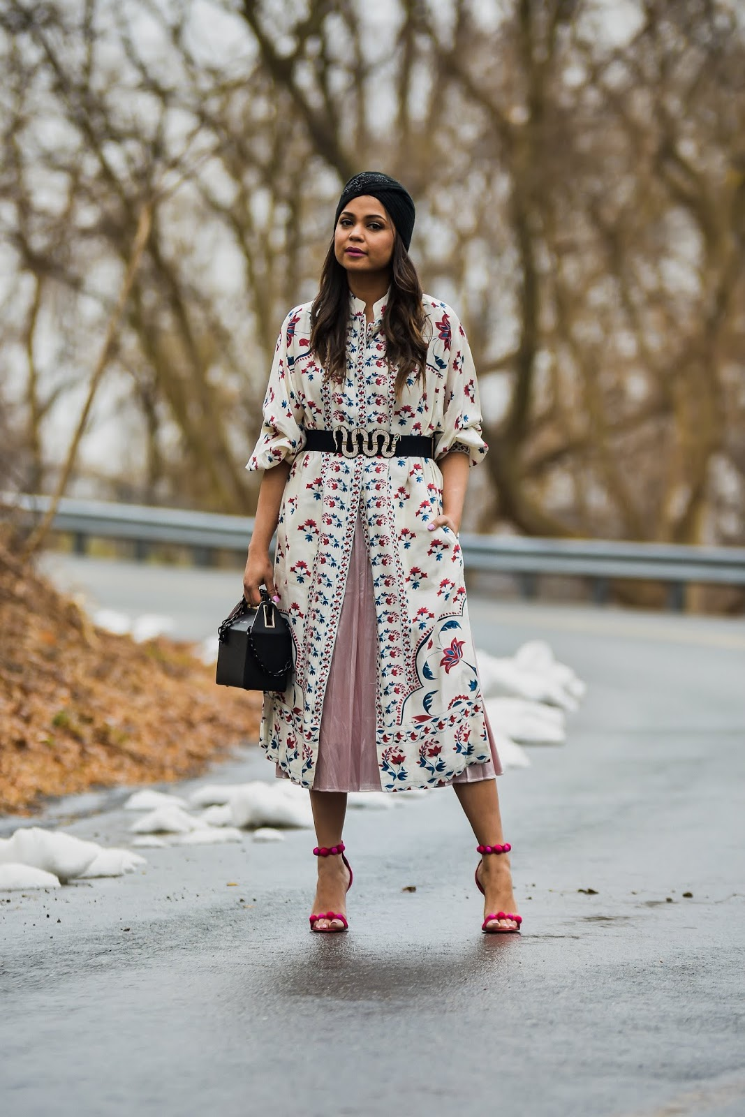 metallic pink skirt, shirtdress, outfit idea, oot, DC blogger, Fashion, style, turban hat, skirtv with dress outfit, saumya shiohare, myriad musings