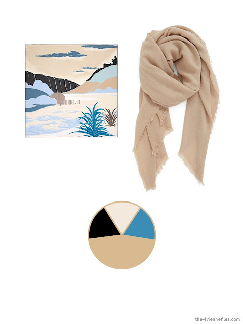 two scarves in black, sand and teal, and the color palette drawn from them