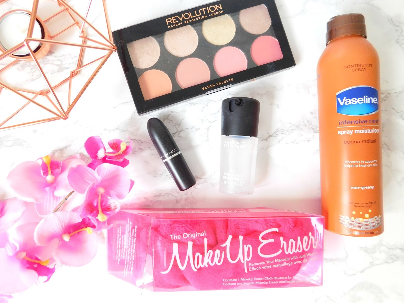 Makeup Revolution, Vaseline Moisturiser, Mac Lipstick Fusion Pink, Mac Fix Plus