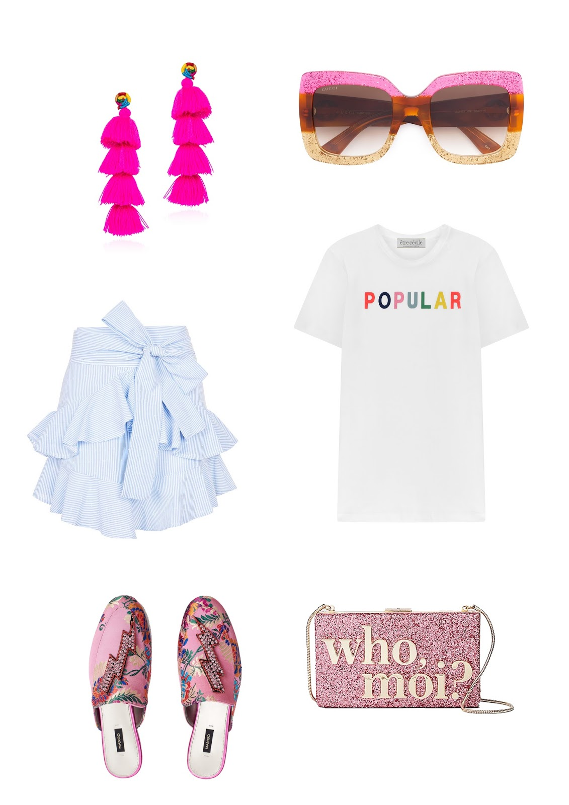 gucci sunglasses, sunglasses, pom pom earrings, kate spade bag, ruffle skirt, topshop, mango, shoes, slides, thunder, maximal, popular, t shirt, logo t shirt, etre cecile,