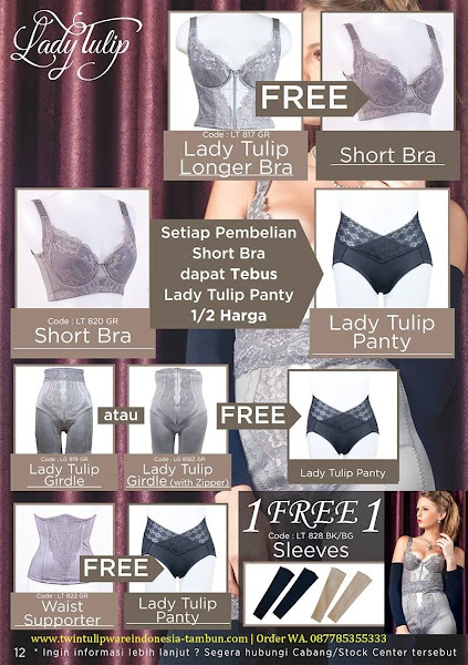 Lady Tulip 1 Free 1 Oktober 2017, Short Bra, Lady Tulip Girdle, Waist Supporter, Sleeves