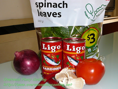 Sardinas at Spinach Ingredients