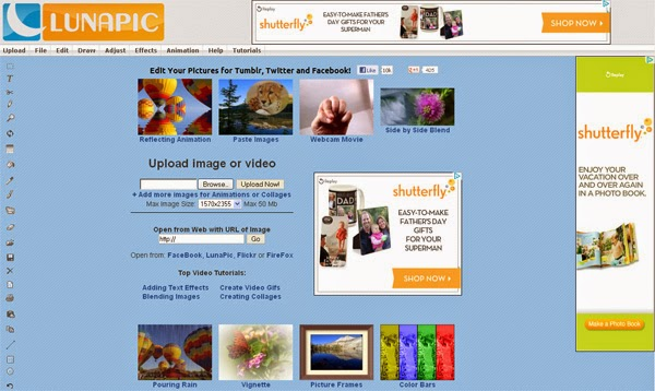 Editor de fotos online LunaPic