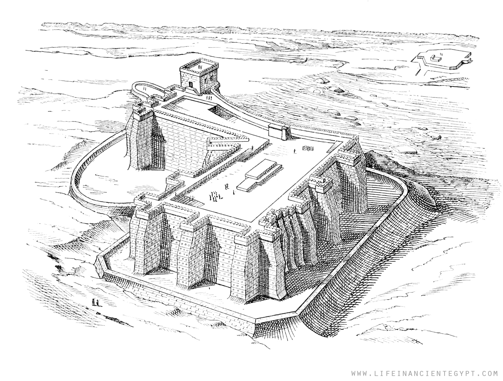 Ancient Egypt Coloring Page Fortified City