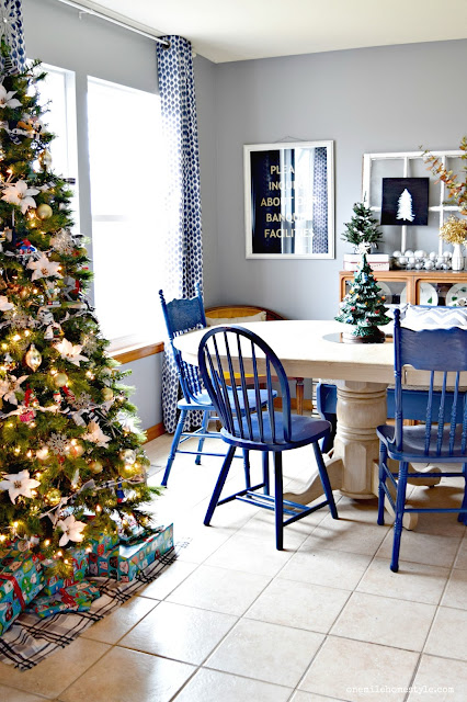 Farmhouse Christmas dining room with navy and grey accents