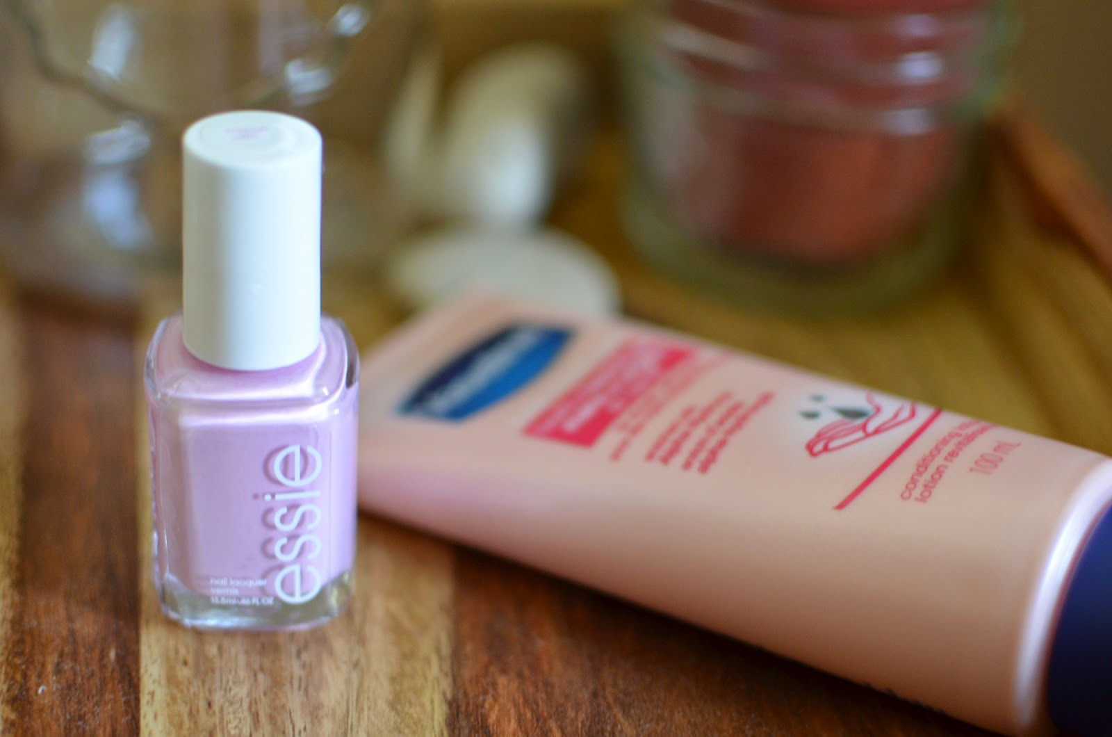 Essie's French Affair nail polish and my current tube of Vaseline hand cream
