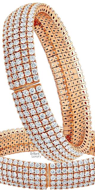 Brilliant Luxury♦17.05 Carat 18 Karat Rose Gold Flexible Diamond Bangle Bracelet