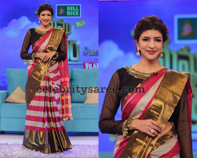 Lakshmi Manchu Tissue Silk Stripes Saree