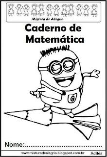 Capa para caderno matemática Minions