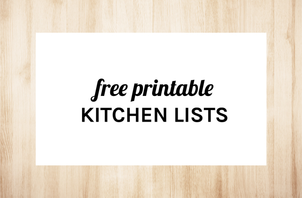 Free Printable Kitchen Lists by Eliza Ellis