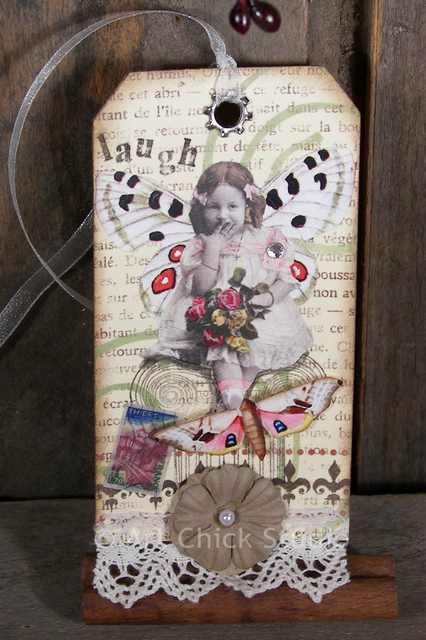 Laugh Fairy Altered Art Tag