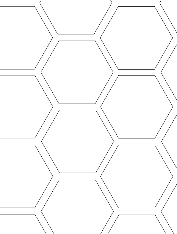 Hexagon Honeycomb Tessellation Coloring page Mimari