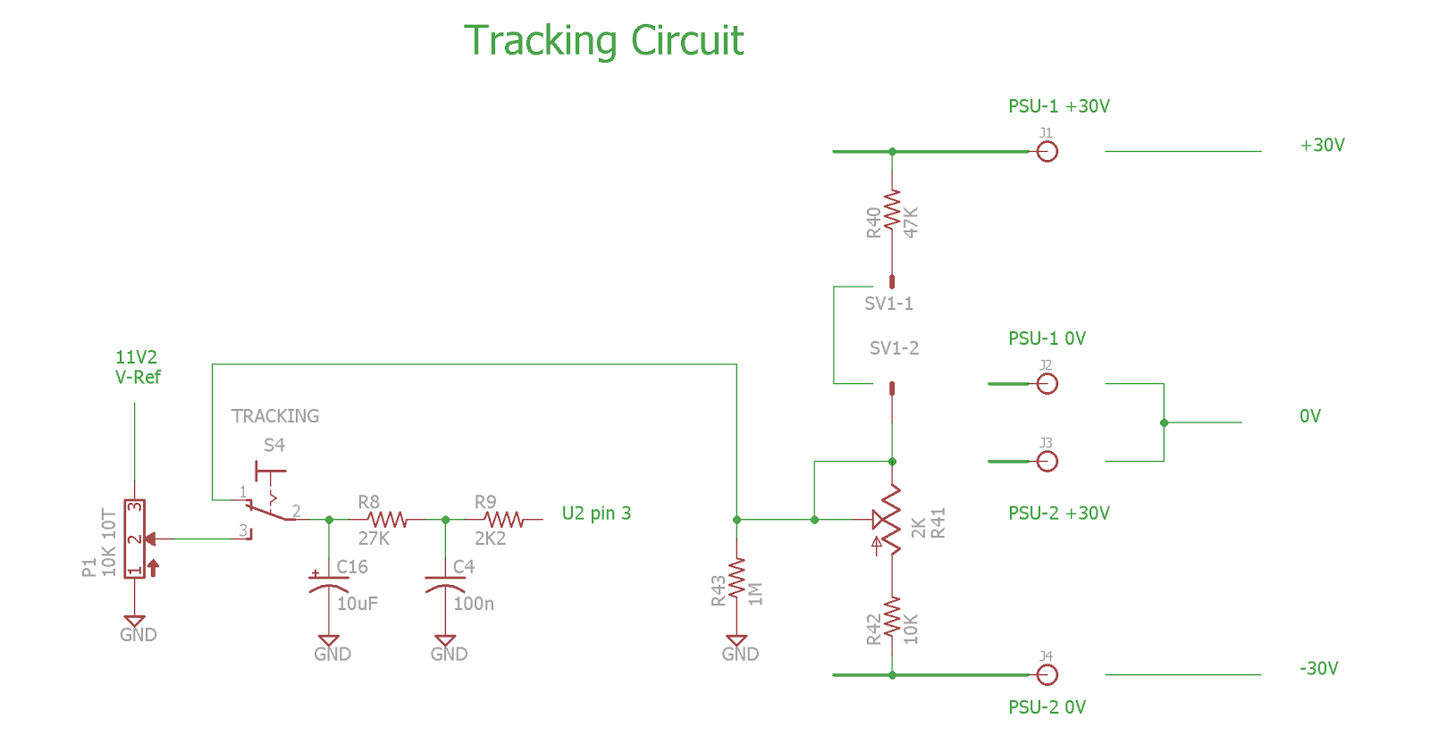 Pauls Diy Electronics Blog Tuning A 030v Dc 03a Psu Kit Ac Led Circuit Diagram In Addition 12 Volt Voltage Regulator The Slave Supply Must Be Modified As Follows Connection Of Wiper Setting Potmeter P1 Disconnected And Fed To Switch