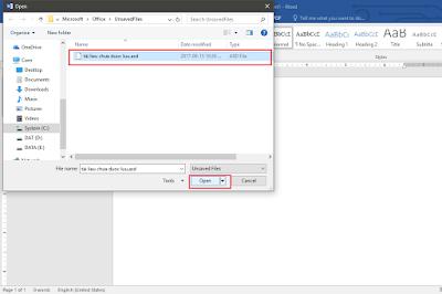 Làm thế nào để phục hồi file Word chưa được lưu ?