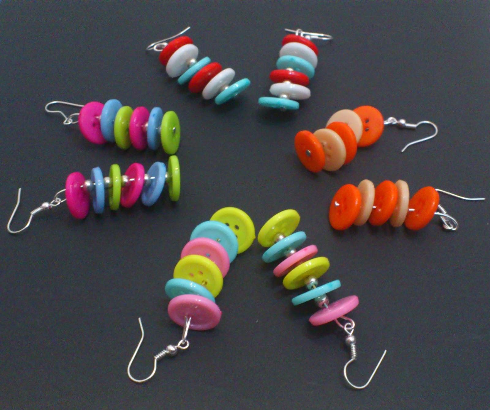 Artesanias Jarm Pendientes De Botones Multicolores