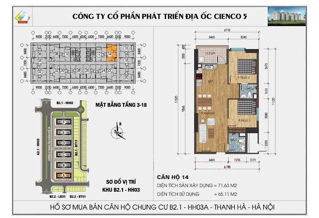 Sơ đồ thiết kế chi tiết căn hộ 14 chung cư B2.1 HH03 Thanh Hà